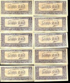 1945 Indonesia 5S Note Crisp Unc 10pcs Scarce