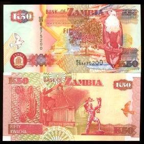 2003 Zambia 50 Kwacha Crisp Unc Note