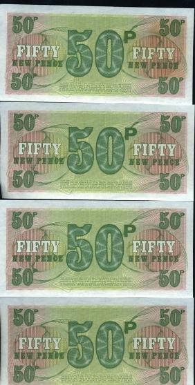 1972 UK 50p Military Note Crisp Unc 10pcs Scarce