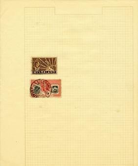 1940s Nyasaland Hand Made Stamp Album Page 2 Pcs