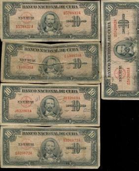1949 Cuba 10 Peso Circulated Note 10pcs