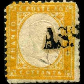 1862 Scarce Italy 80c Stamp
