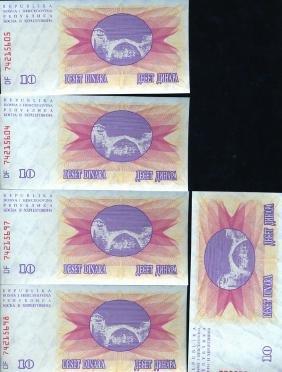 1992 Bosnia 10D Crisp Unc Note 5pcs Scarce Sequential