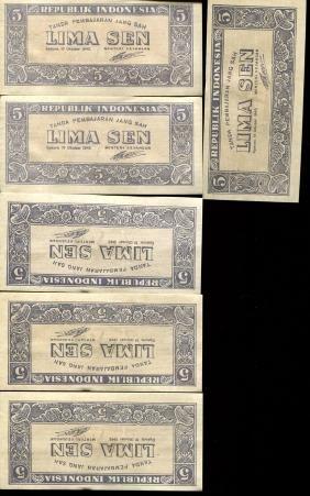 1945 Indonesia 5S Note Crisp Unc 6pcs Scarce Sequential