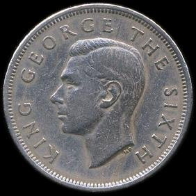 1950 New Zealand 1/2 Crown XF Variety