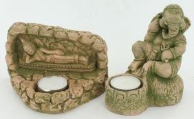 Sandstone Genesh & Buddha Candle Holder Pair