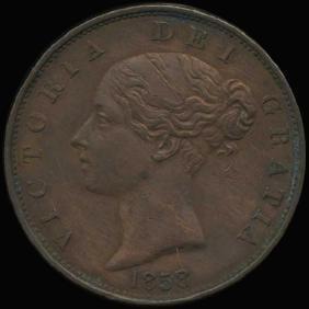 1858/7 British Victoria Halfpenny AU+