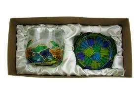 Ornate Overlaid Glass Candle Holder