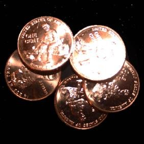 2009 Log 5 Choice/GEM BU Lincoln Cents from Unopened