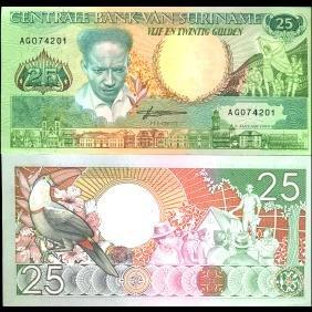 1988 Suriname 25 Gulden GEM Crisp Uncirculated Note