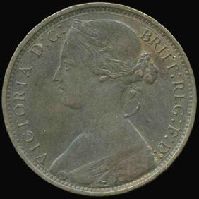 1862 Great Britain Penny XF+ RARE Variety