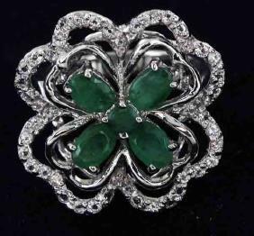 38twc Emerald Gold Vermeil Ring
