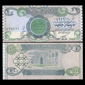 1992 IRAQ 1 Dinar GEM Crisp Unc Note