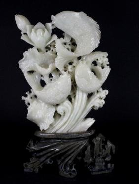 Intricate LARGE Chinese Jade & Shaoshan Stone Carving