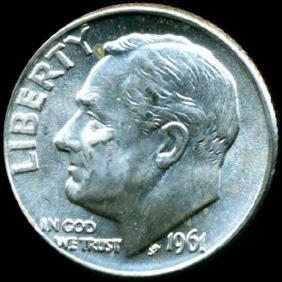 1961d Fdr Silver 10c Gem Full Bands