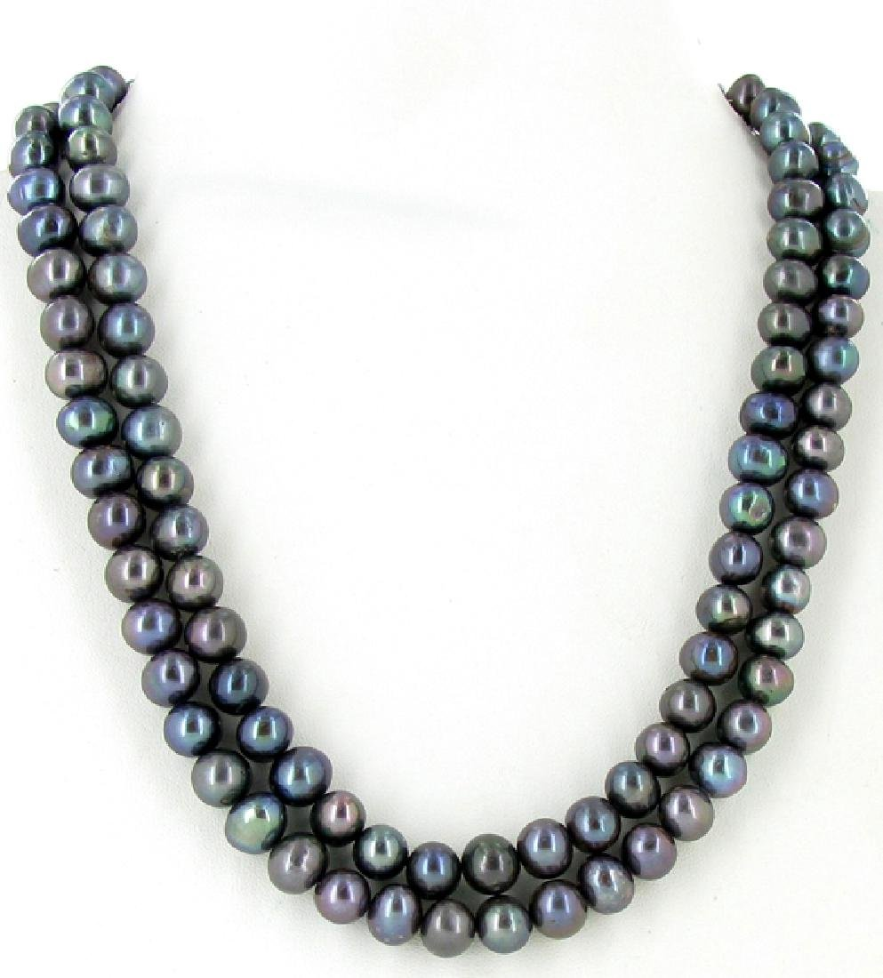 Black Saltwater Baroque Pearl 2 Strand Necklace