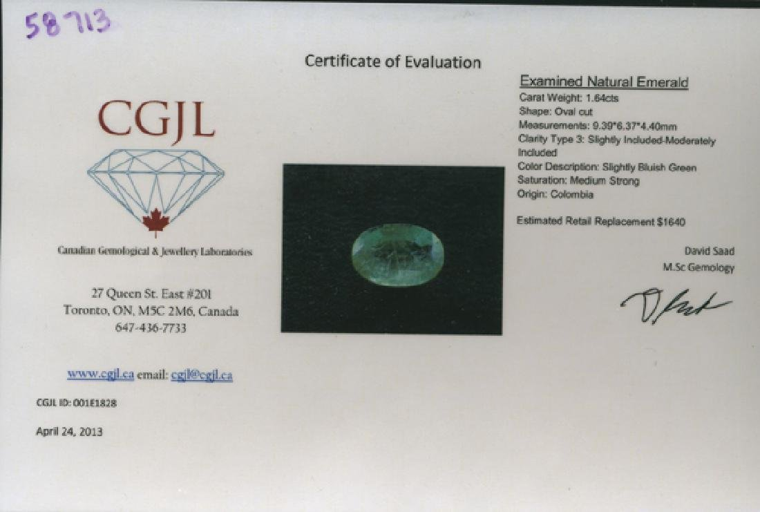 1.64ct Natural Green Colombian Emerald Appraised $1640 - 2