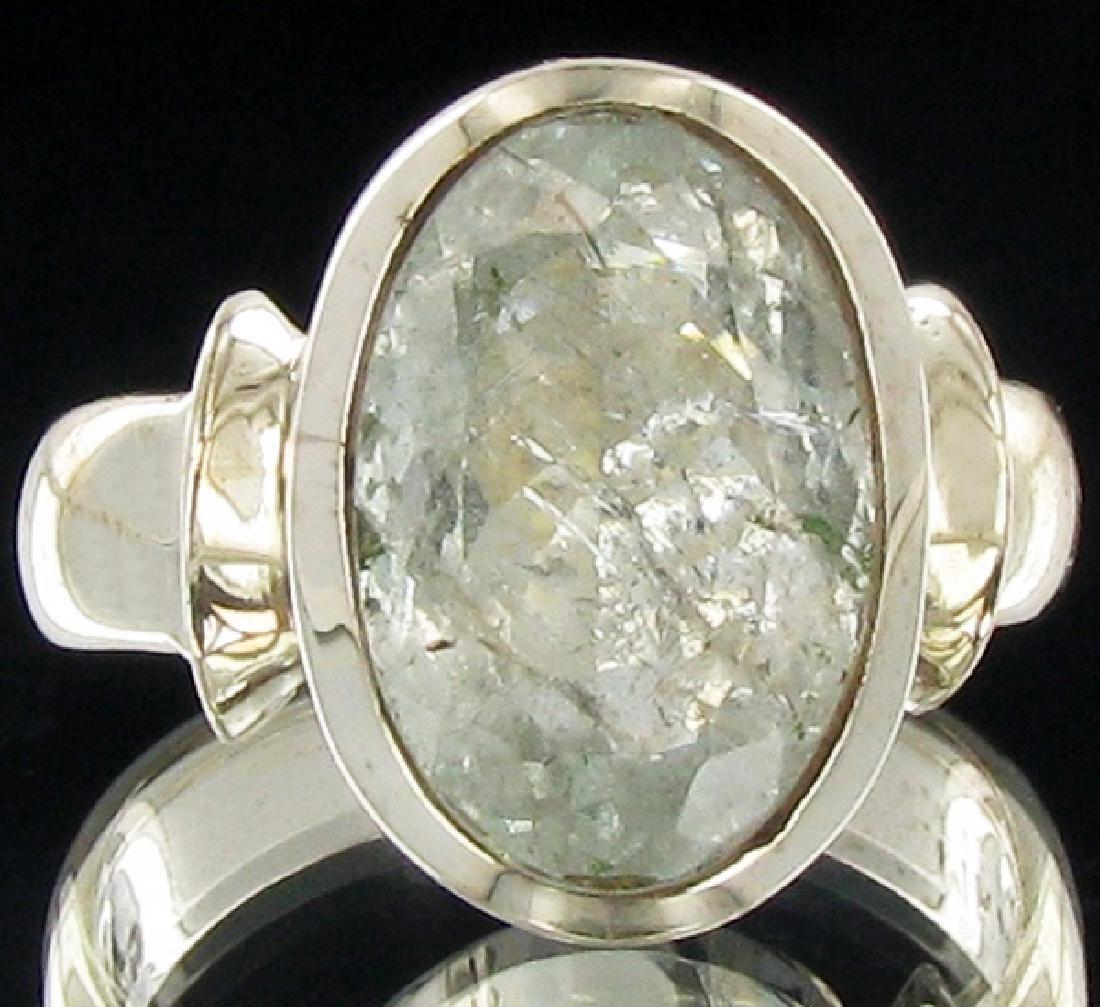 42twc Natural Afghan Aquamarine Sterling Ring
