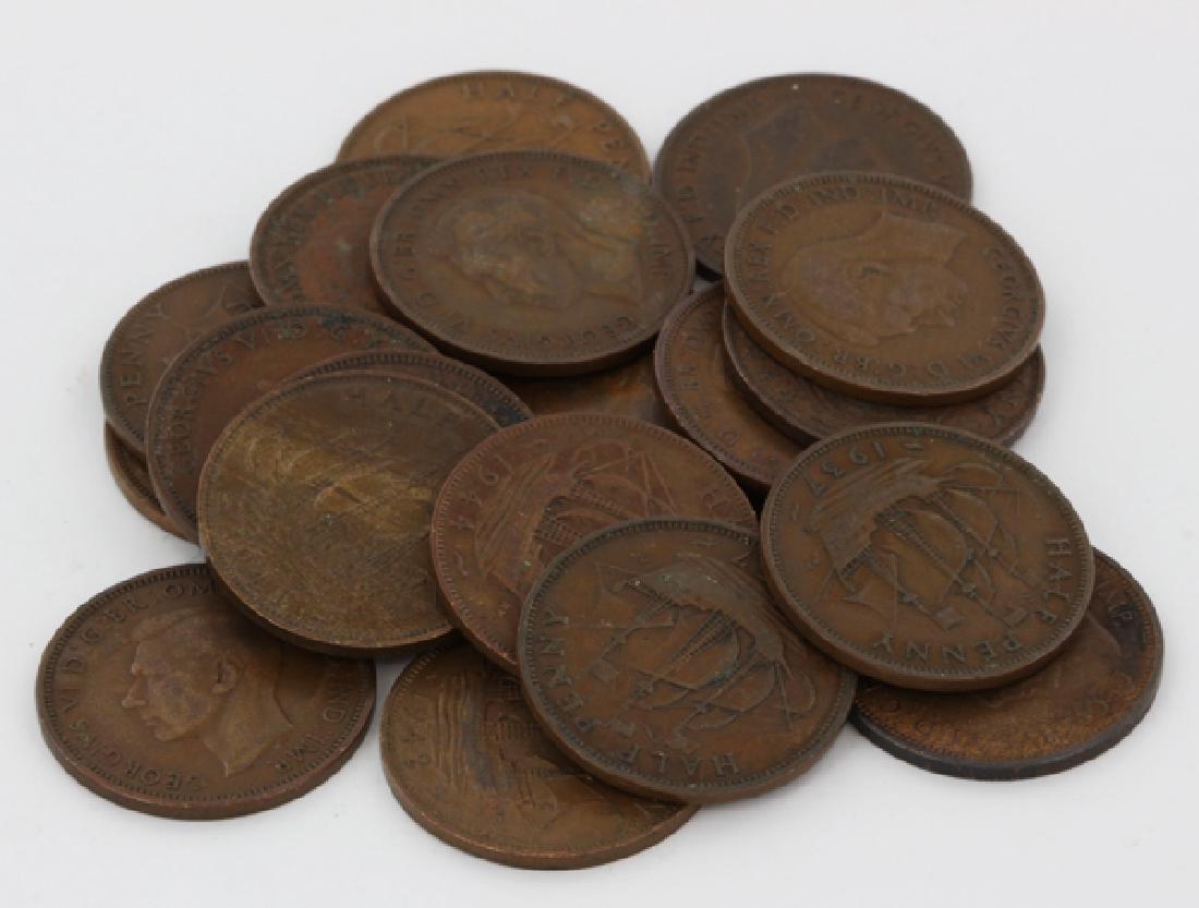 1937-48 G Britain 1/2 Penny XF+/- 20 pcs