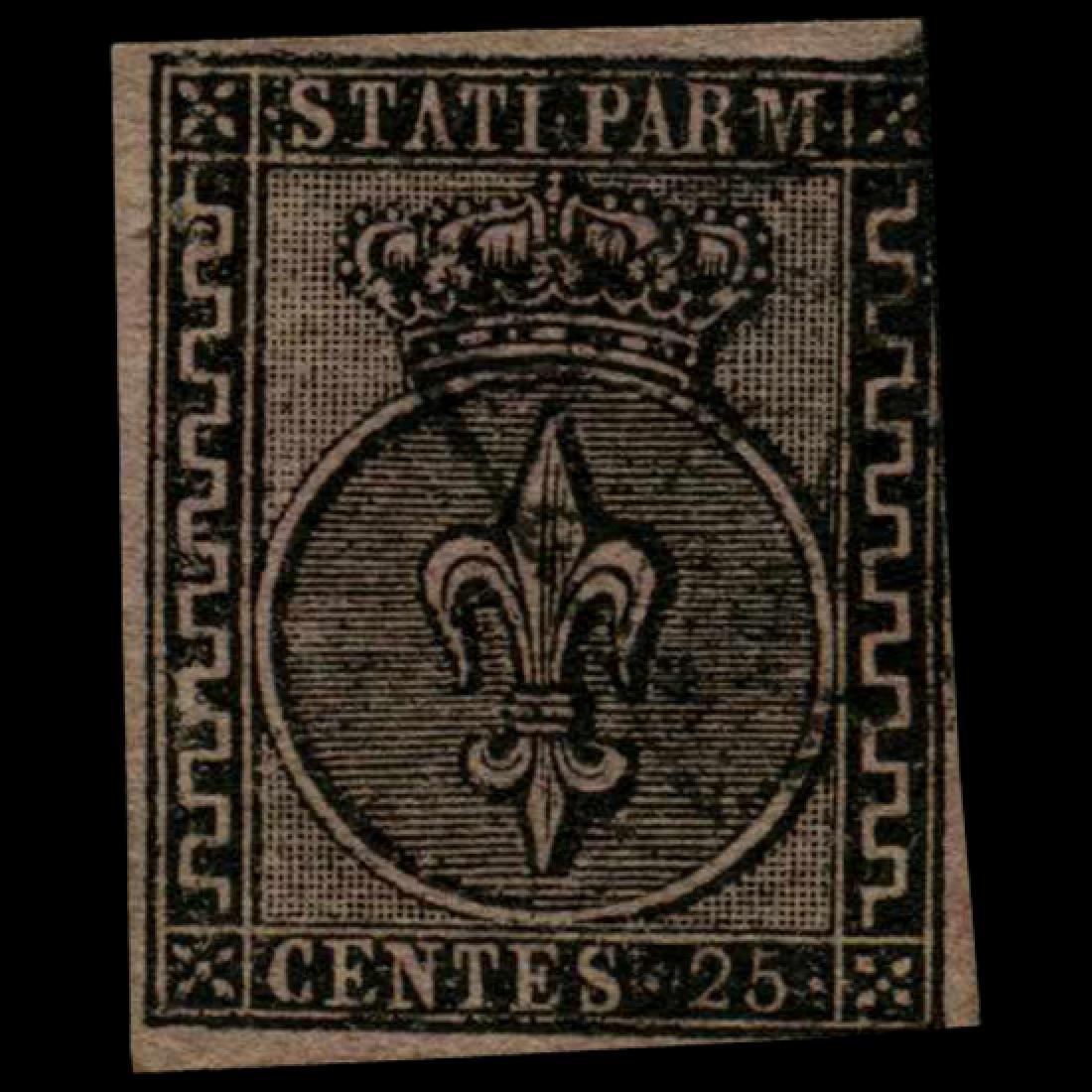 1852 Parma 25c Stamp
