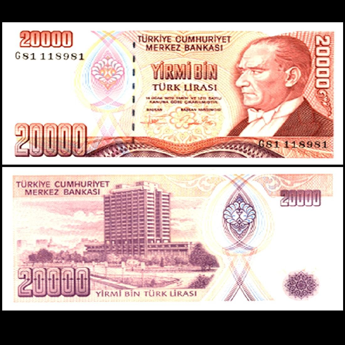 1988 Turkey 20000 Lira Note GEM Crisp Unc