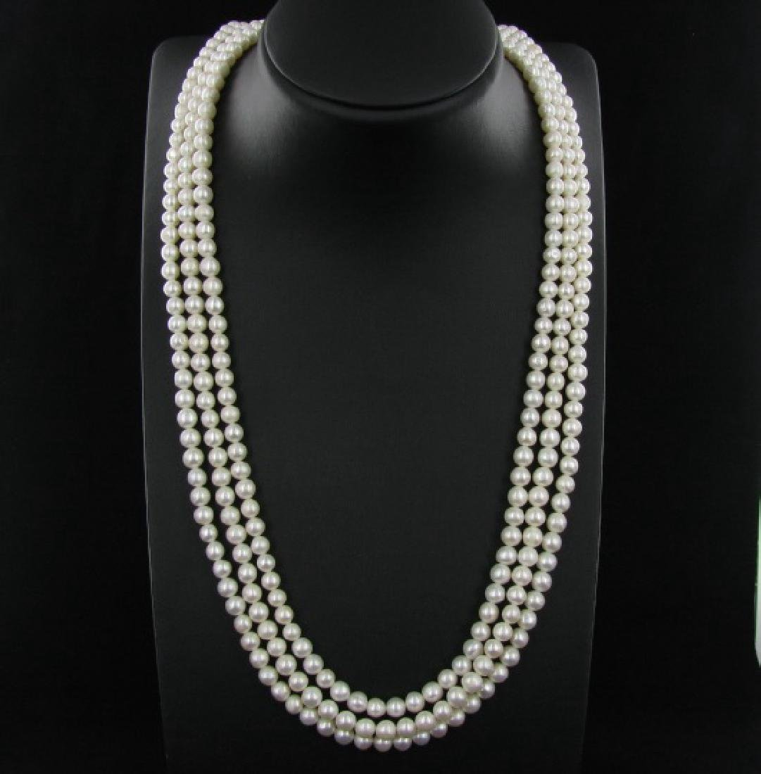 White Saltwater Pearl Three Strand Necklace - 2
