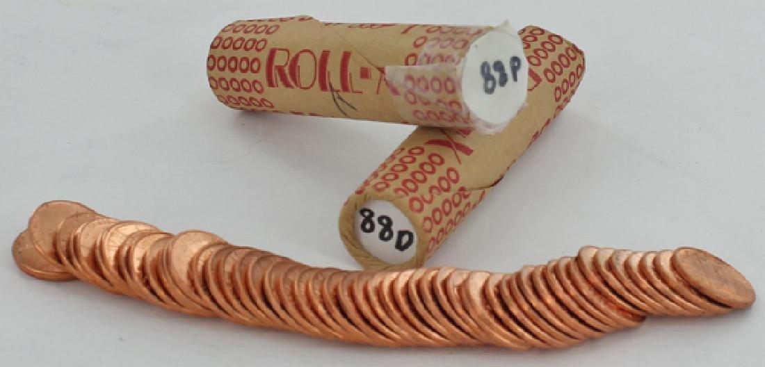 1988 Linc 1c BU Scarce UnOpened Bank 3 Rolls 50 GEMS