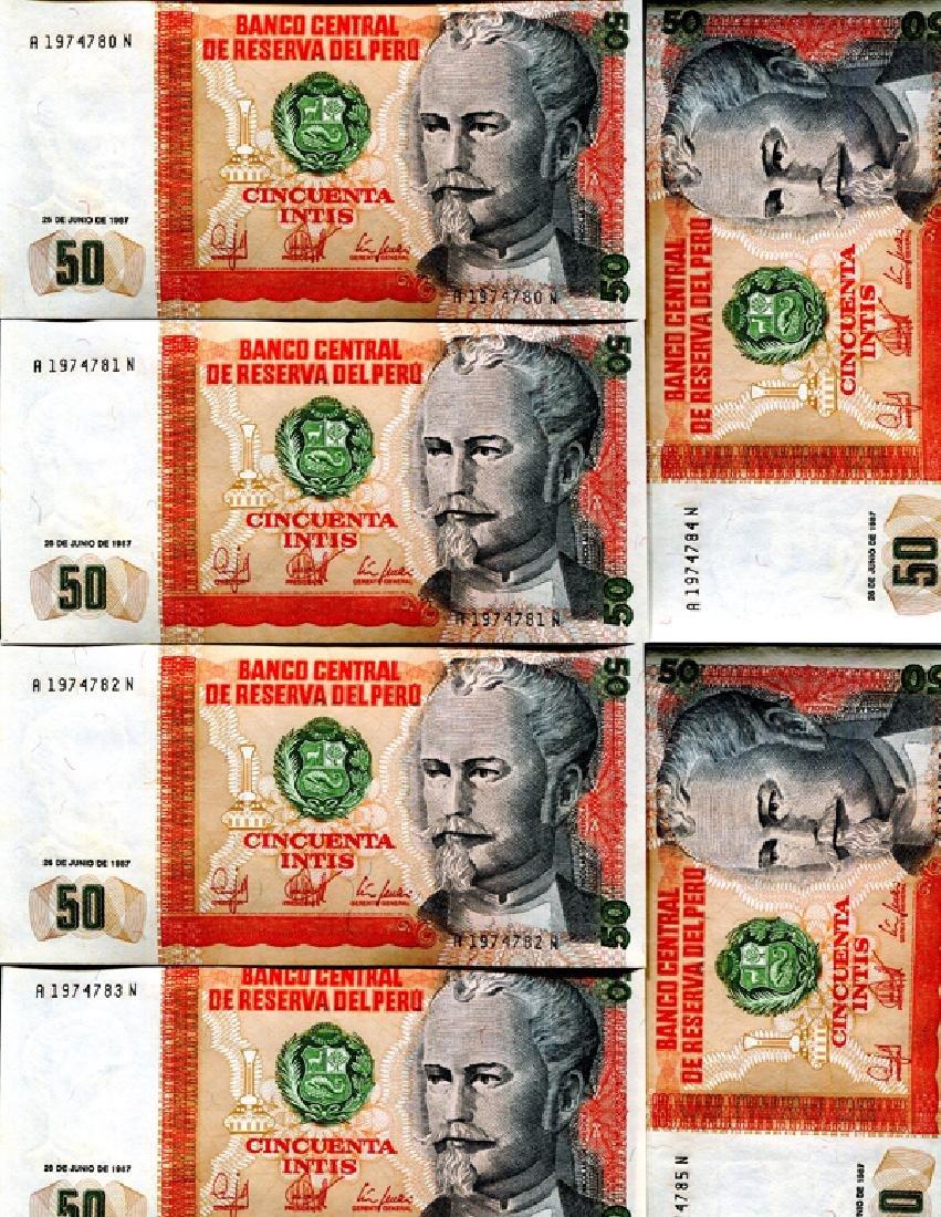 1987 Peru 50 Intis Crisp Unc Note 10pcs Scarce