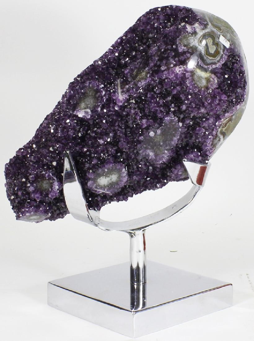 31752ct Gem Grade Amethyst Crystal Cluster on SS Stand
