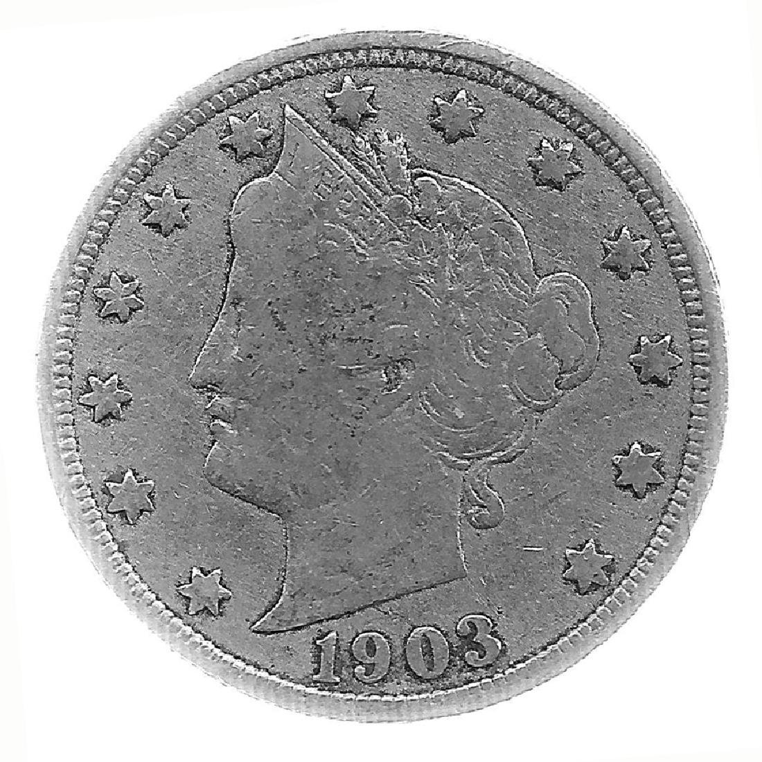 1903 Better Grade Lib 5c Partial Liberty Showing