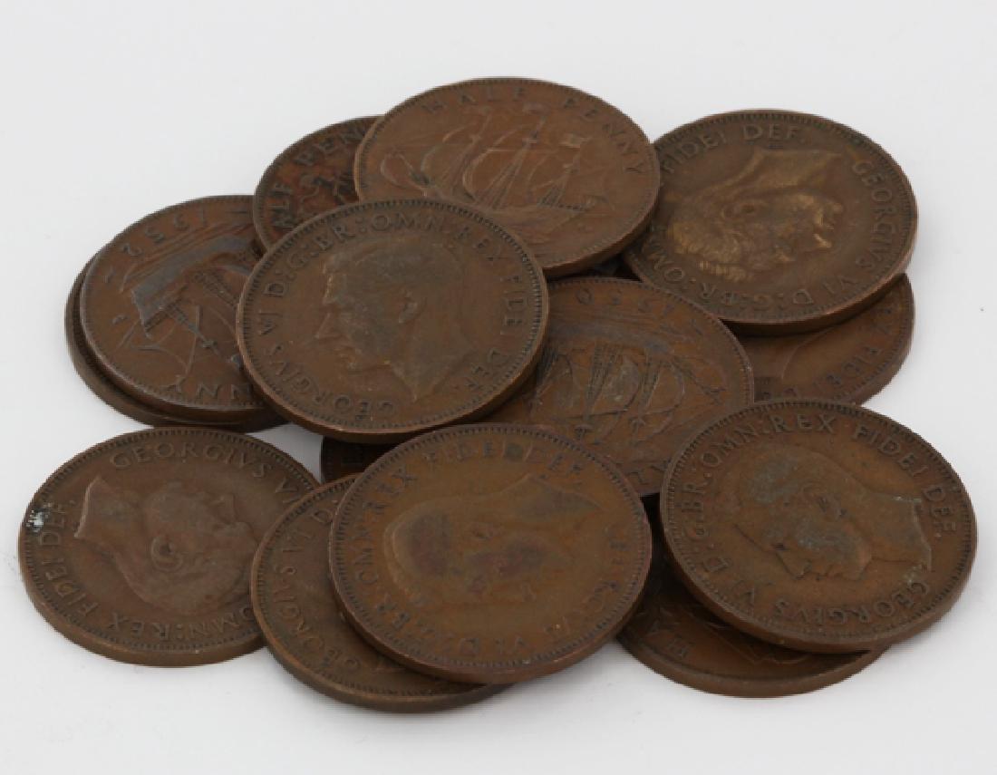 1949-52 G Britain 1/2 Penny XF+/- 15 pcs