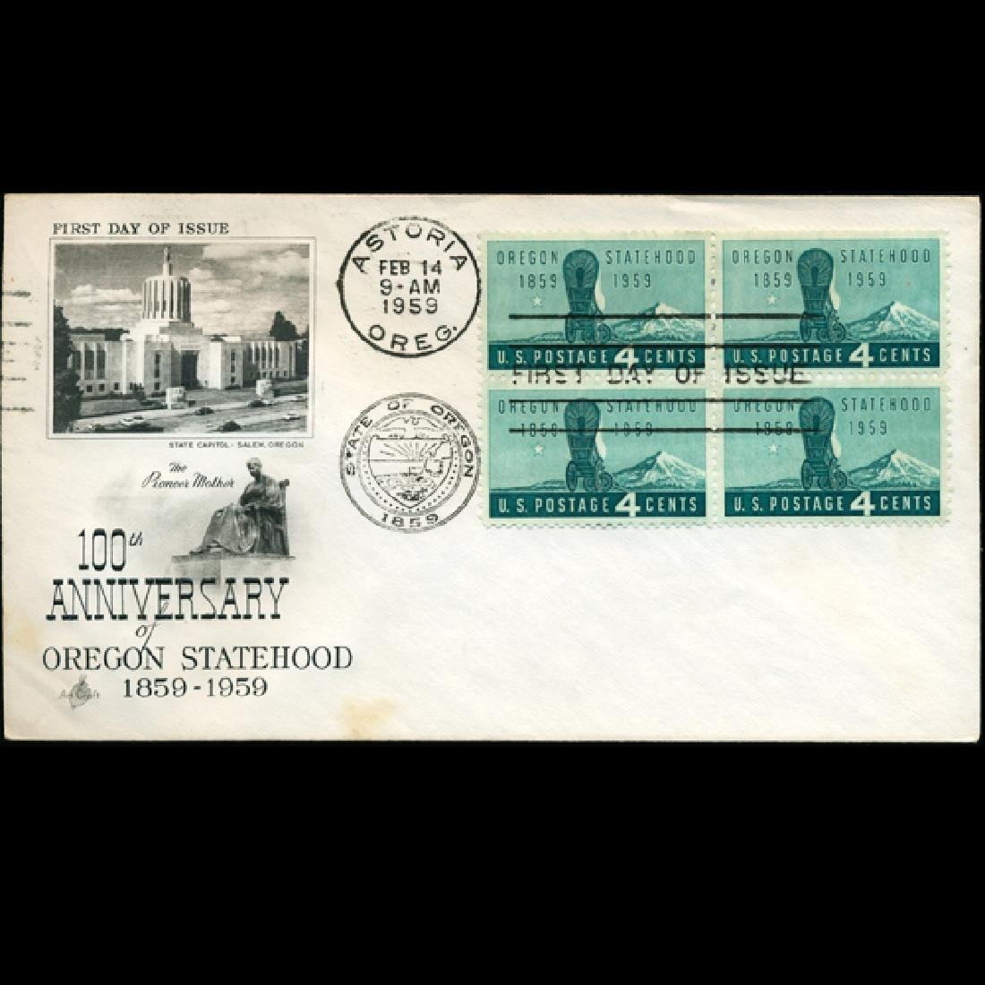 1959 US First Day 4 Block Postal Cover