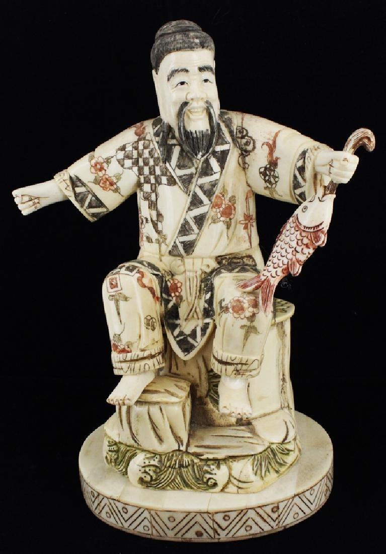 Handcarved Chinese Bone Fisherman