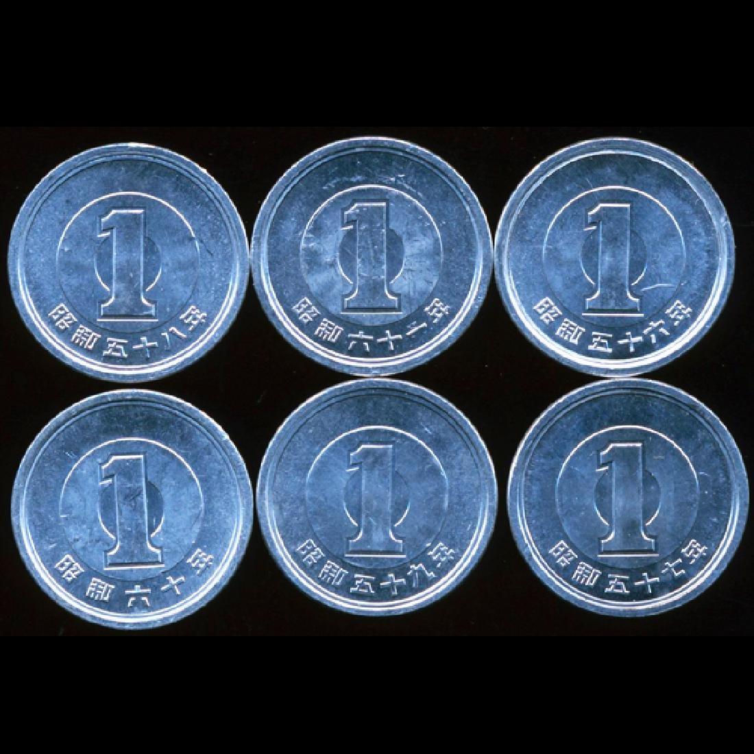 1981-86 Japan 1 Yen BU 6pcs