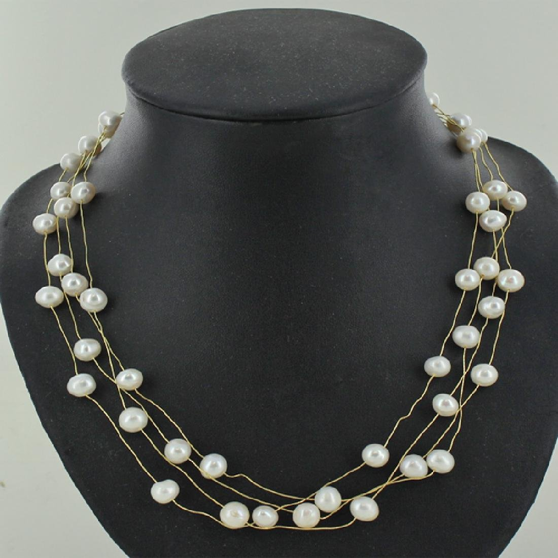 White Pearl 4 Strand Necklace