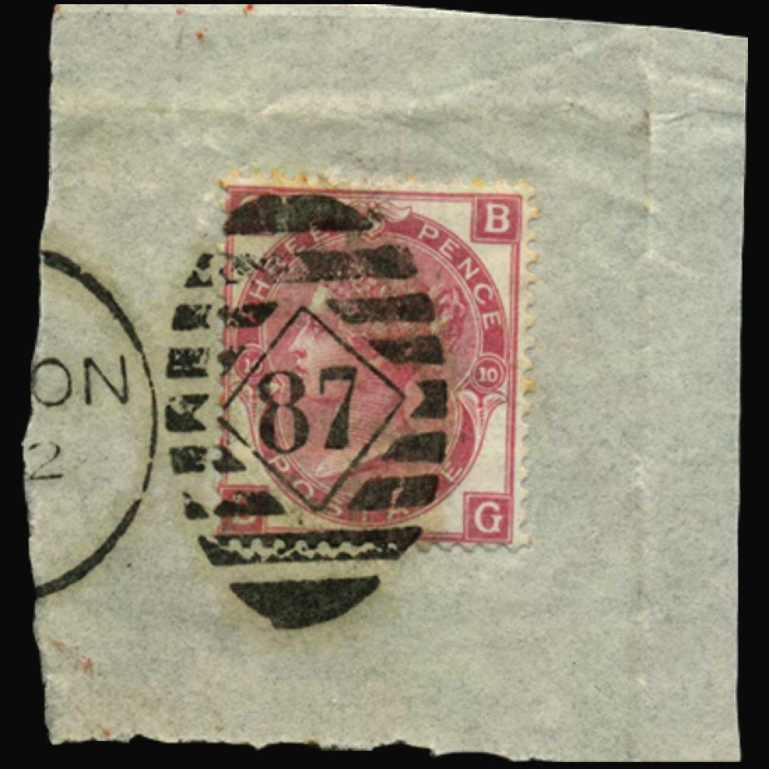 1867 Britain 3p Victoria Stamp on Piece