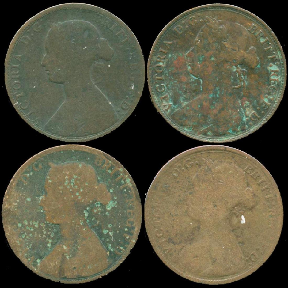 1870s G Britain 1/2 Penny 4 pcs