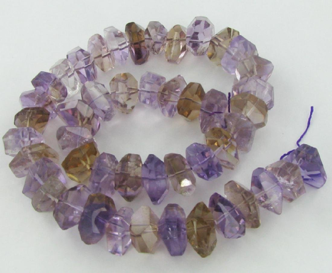 640twc Purple Green Faceted Amethyst Crystal Strand