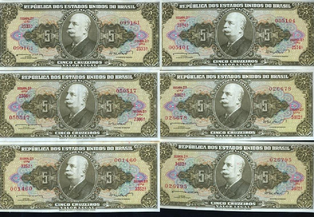 1962 Brazil 5C Crisp Unc Note 10pcs Scarce Sequential