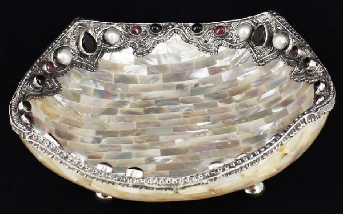 Sterling & Gem Encrusted Mother of Pearl Bowl