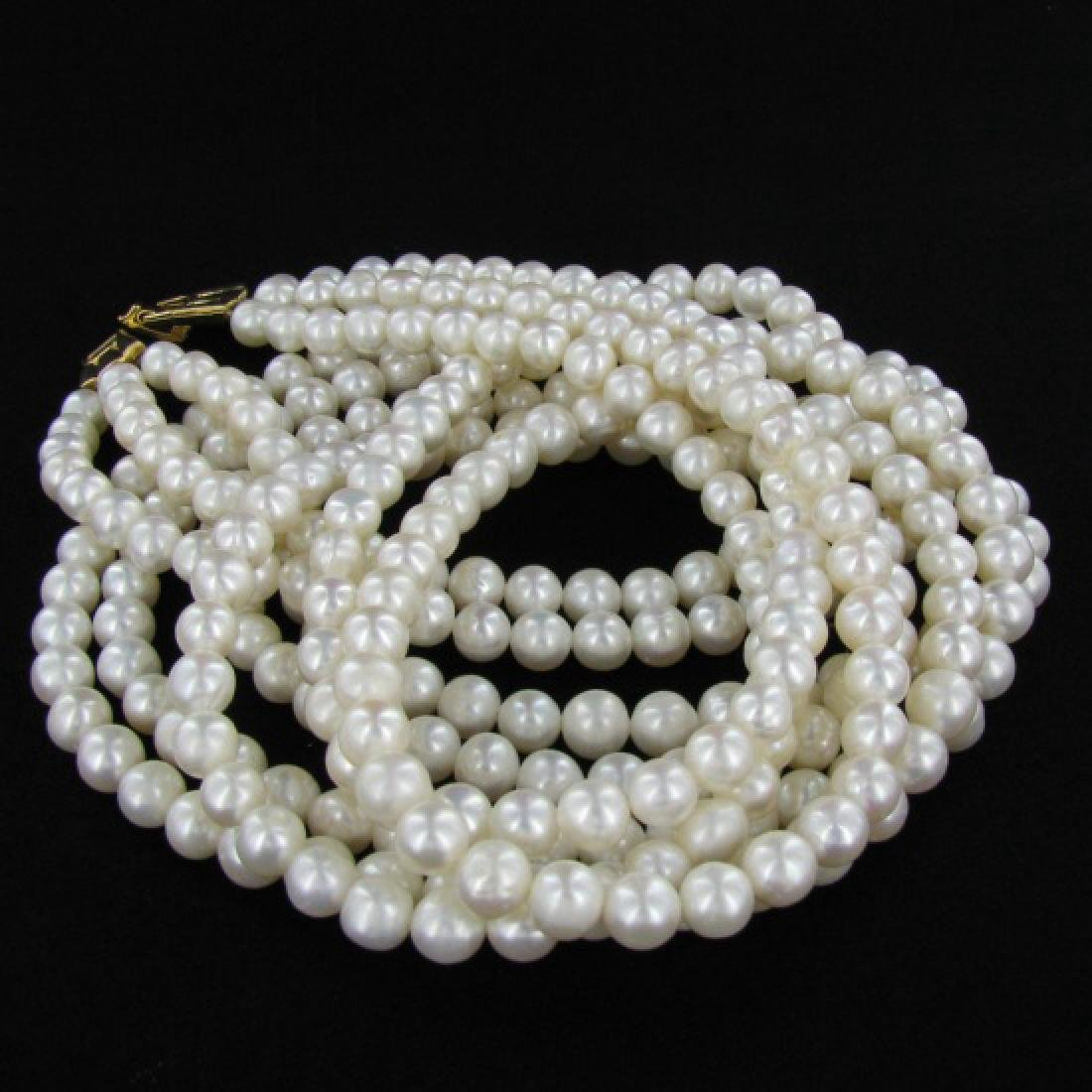 White Saltwater Pearl Three Strand Necklace