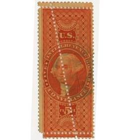 1863 US $5 Revenue Stamp Conveyance ERROR