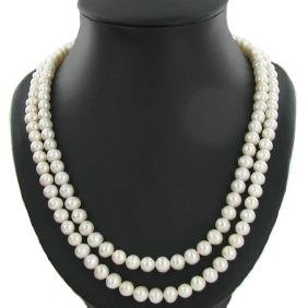 """White Saltwater Pearl Double Strand 42"""""""
