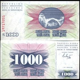1993 Bosnia 1000 Dinara Note GEM Crisp Unc