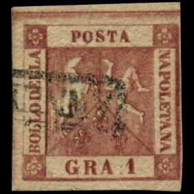 1858 Naples 1g Stamp
