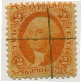 1861 US 2c Orange Revenue Stamp Proprietary ERROR