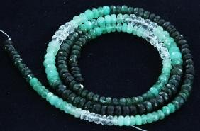 42.4ct Zambian Emerald Faceted Bead Strand