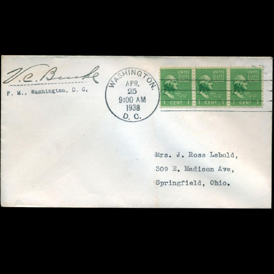1937 US Postmaster Signed First Day Postal Cover