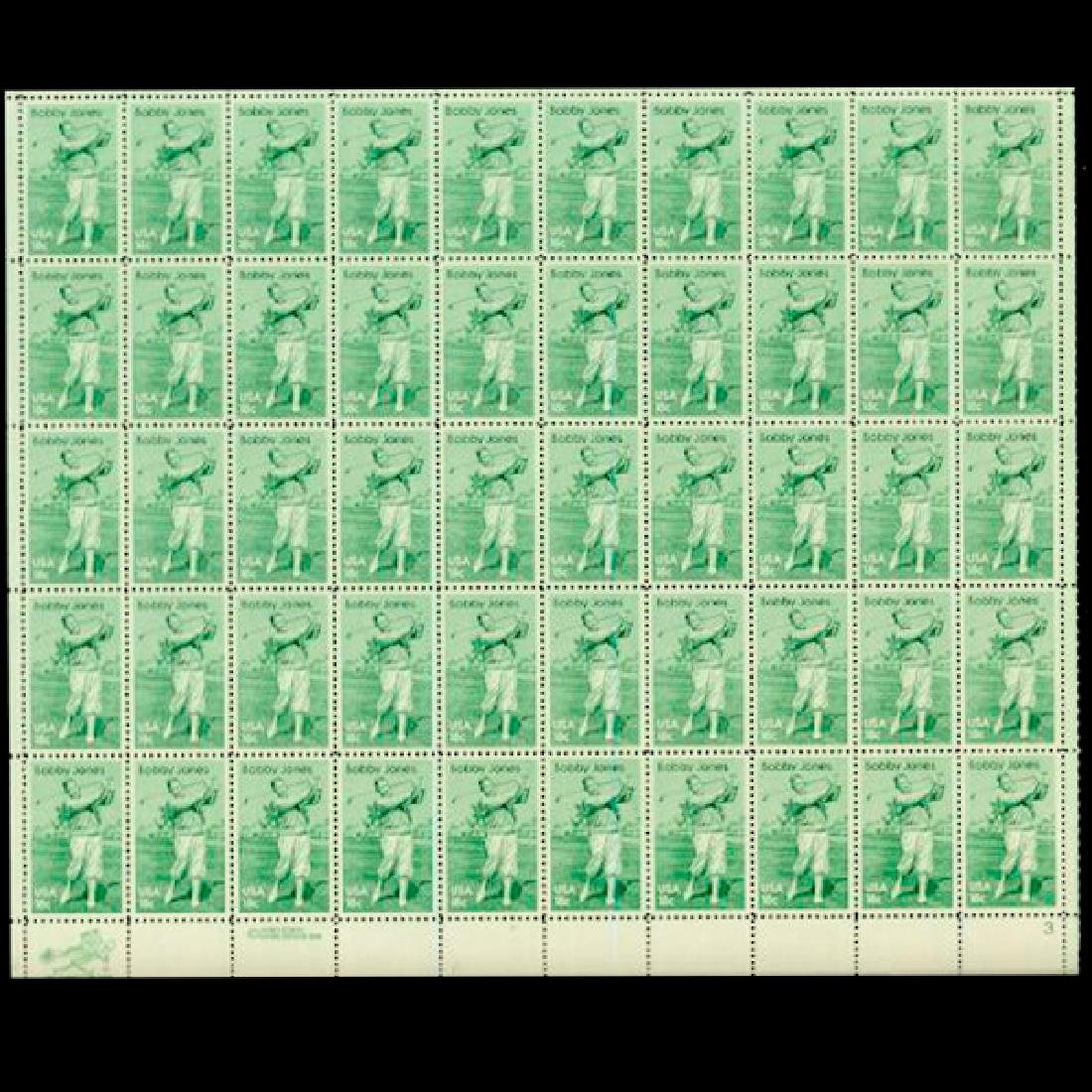 1981 US Sheet 18c Bobby Jones Stamps MNH Error RARE