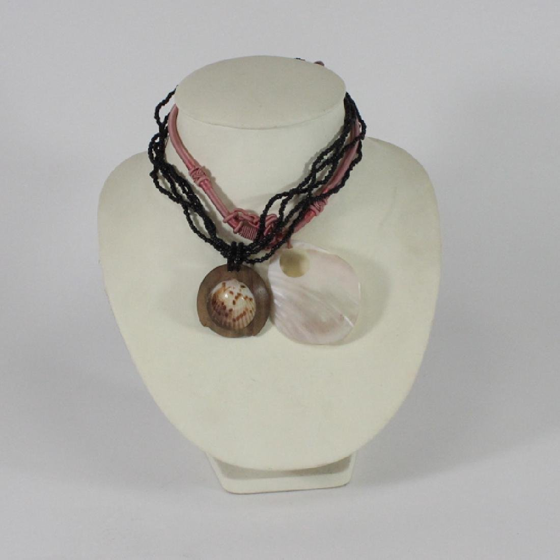 2 New Handcarved Shell Necklace Choker Pendants